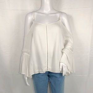 SMY MuMu Off White Cold Shoulder Bell Sleeves Sz M